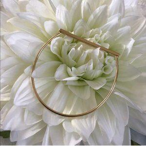 Gold 14k Plated Bar Bangle Horseshoe Bracelet